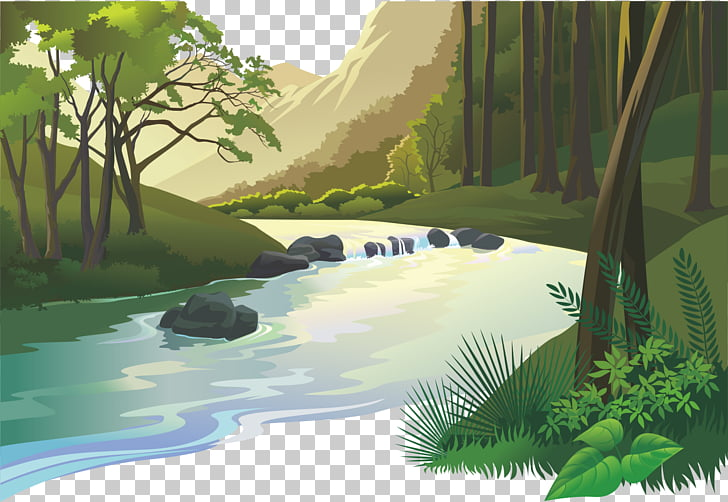 Natural landscape Cartoon Nature, Wilderness mountain stream.