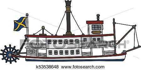 Historical steam riverboat Clip Art.