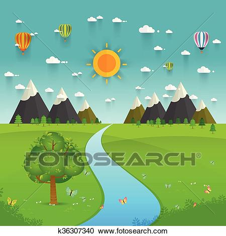 River flowing through mountains, hills and through fields Clipart.