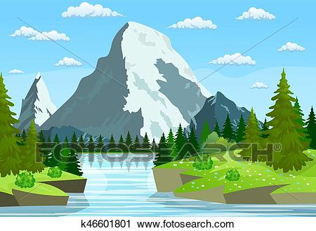 River flowing through the rocky hills Clipart.