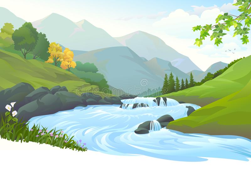 River Flowing Stock Illustrations.