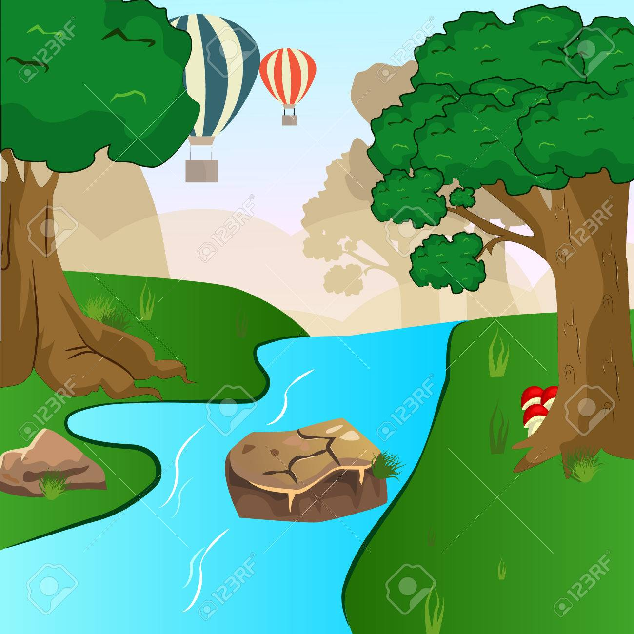 Blue river flowing across green forest vector.