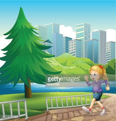 girl running at the riverbank with a tall pine tree Clipart.