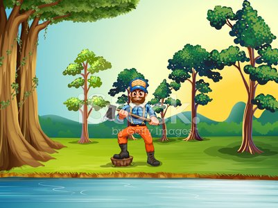 Lumberjack AT The Riverbank Holding AN Axe premium clipart.