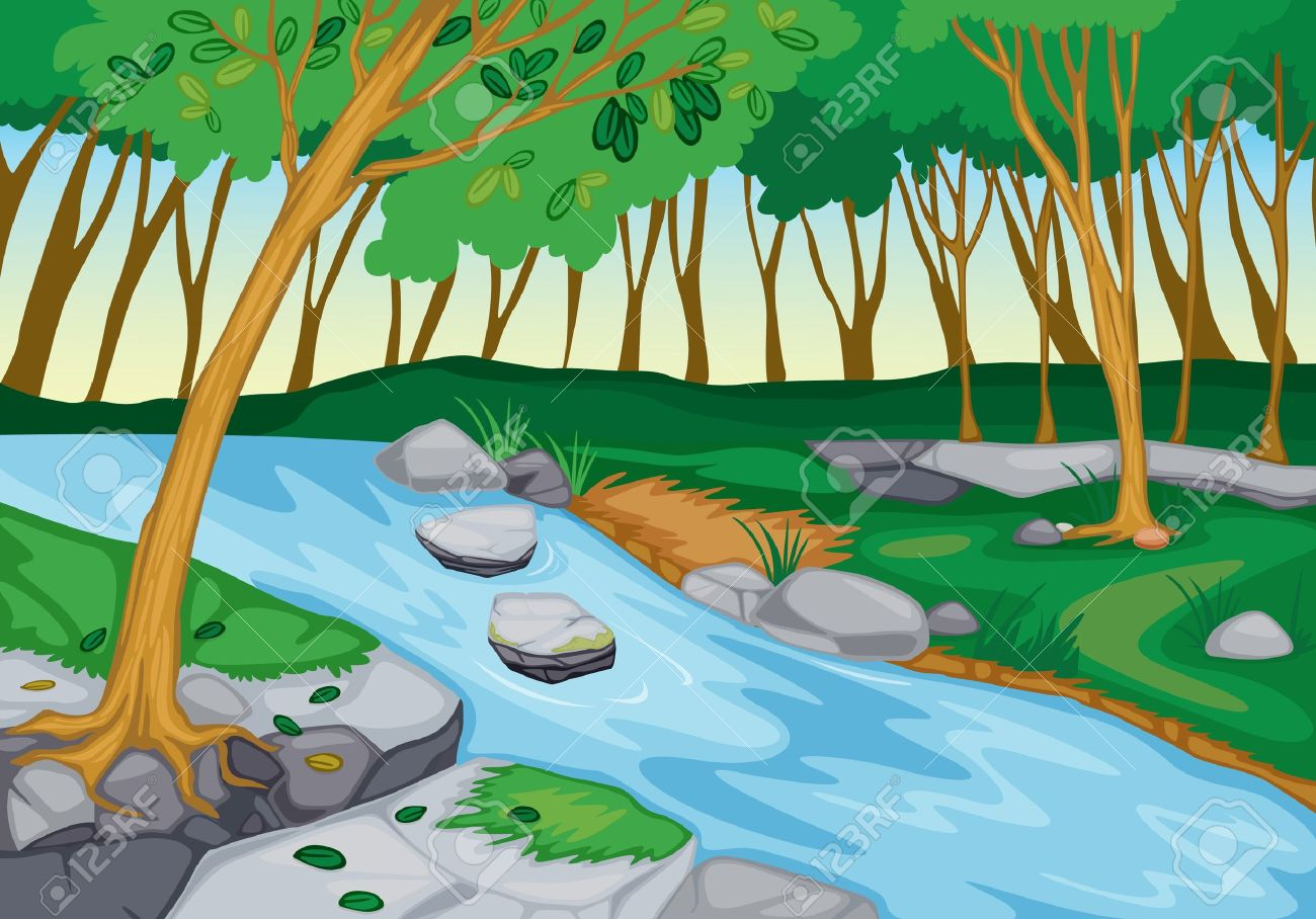 River beautiful scenery clip art cliparts.