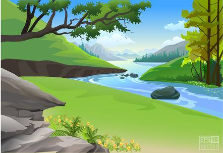 2,557 Mountain Stream Stock Vector Illustration And Royalty Free.