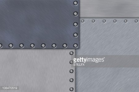 Rivets in brushed steel Clipart Image.