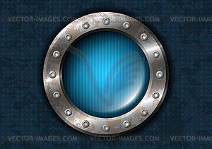 Metal circle with rivets.