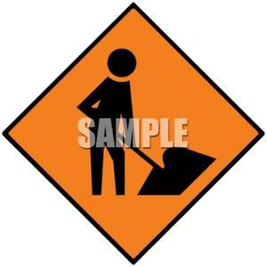 Road Construction Ahead Sign.
