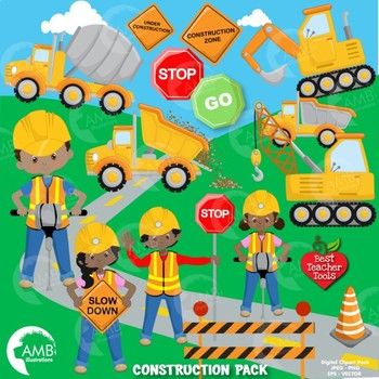 Construction Clipart, Road Work Clipart, African American.