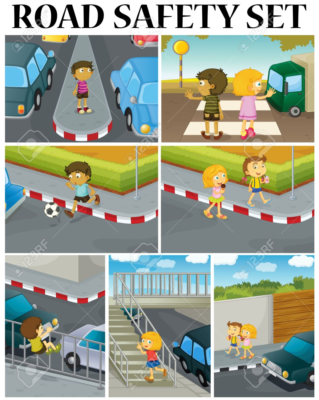 Scenes of children and road safety illustration.
