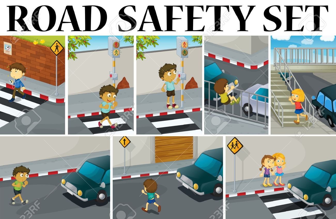 Different scenes with road safety illustration.