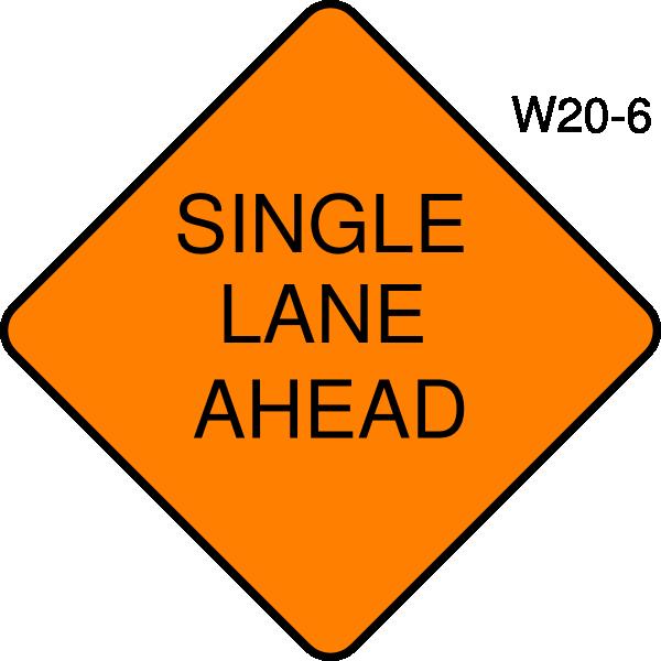 Single Lane Ahead Clip Art at Clker.com.