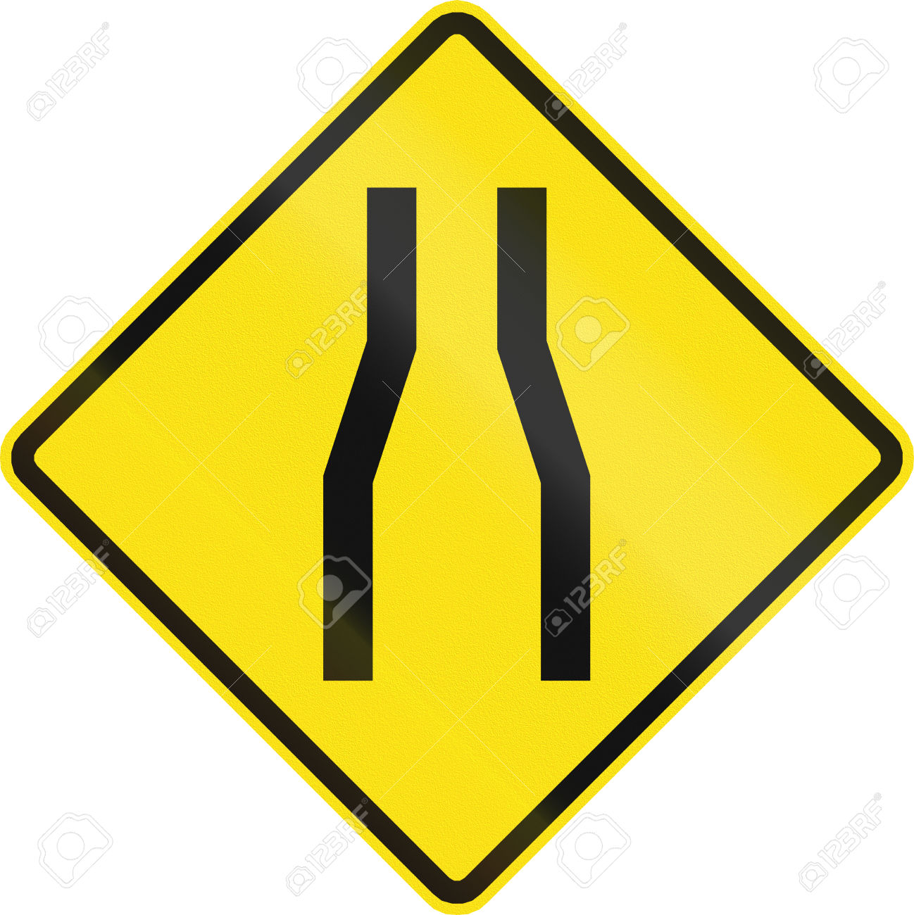 Chilean Road Warning Sign: One Lane Road/narrow Road Ahead Stock.