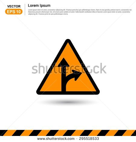 Road Signs Go Straight Turn Right Stock Vector 295518533.