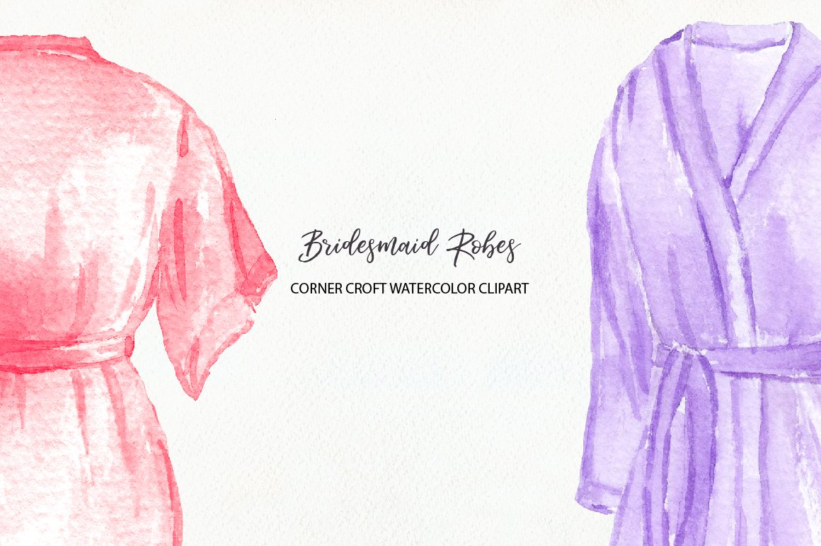 Watercolor bridesmaid robe clipart, instant download.