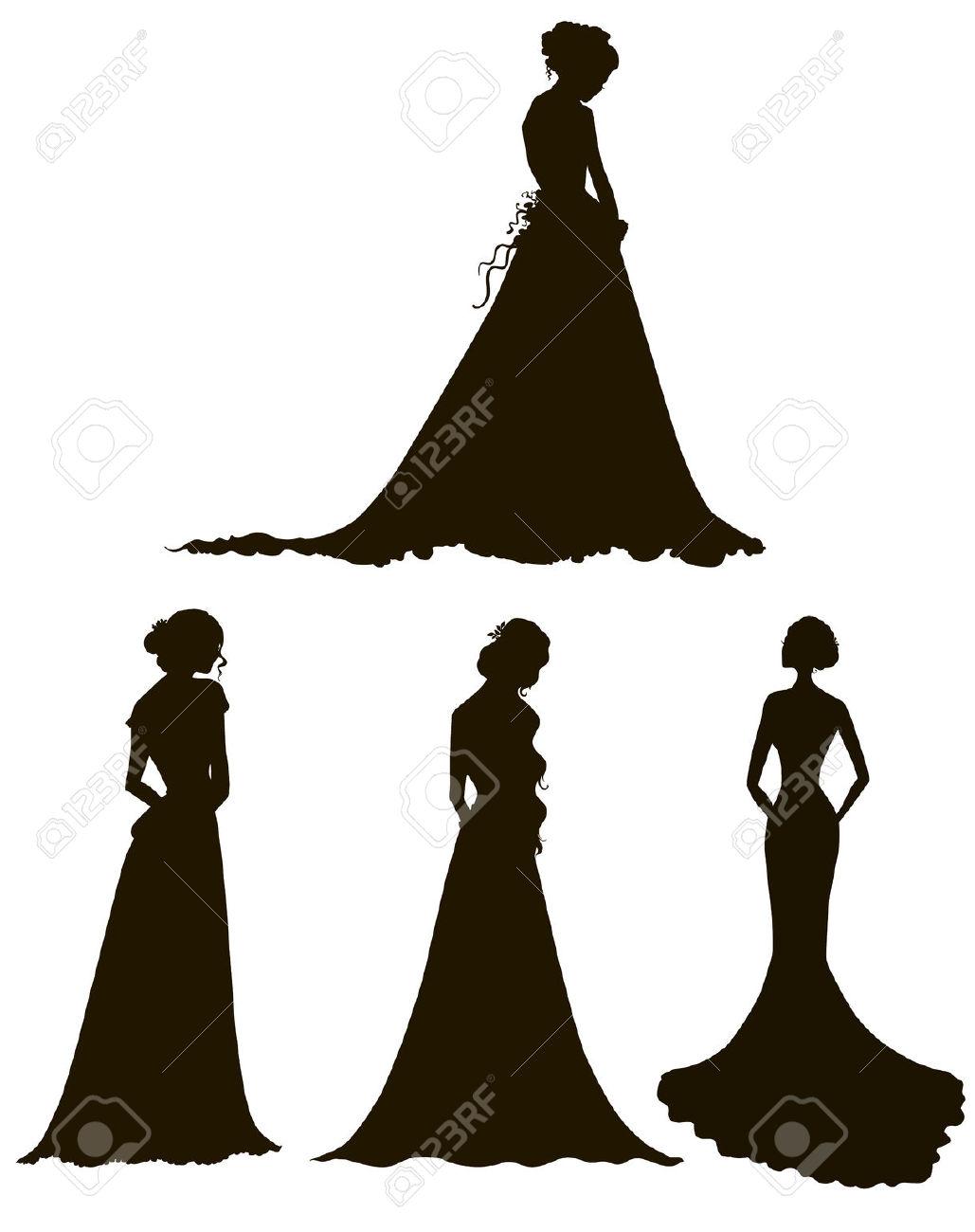 Jeunes Femmes En Robes Longues Silhouettes Brides Outline Vector.