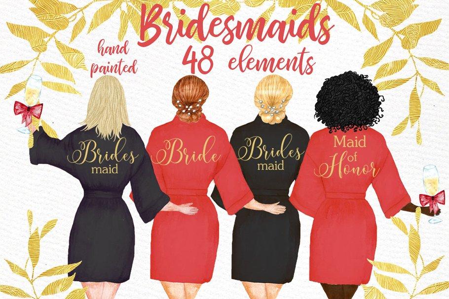 Bridesmaid clipart, Wedding Robes ~ Graphics ~ Creative Market.