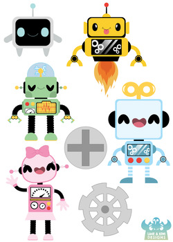 Cute Robot Clipart, Instant Download Vector Art, Commercial Use Clip Art.