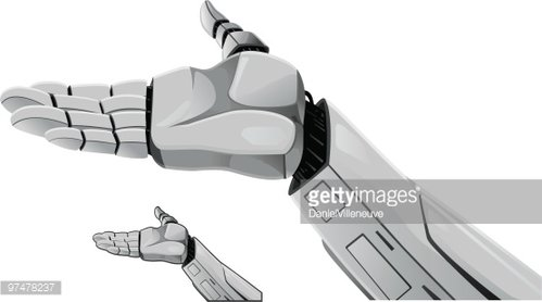 Robot hand demonstrating. Clipart Image.