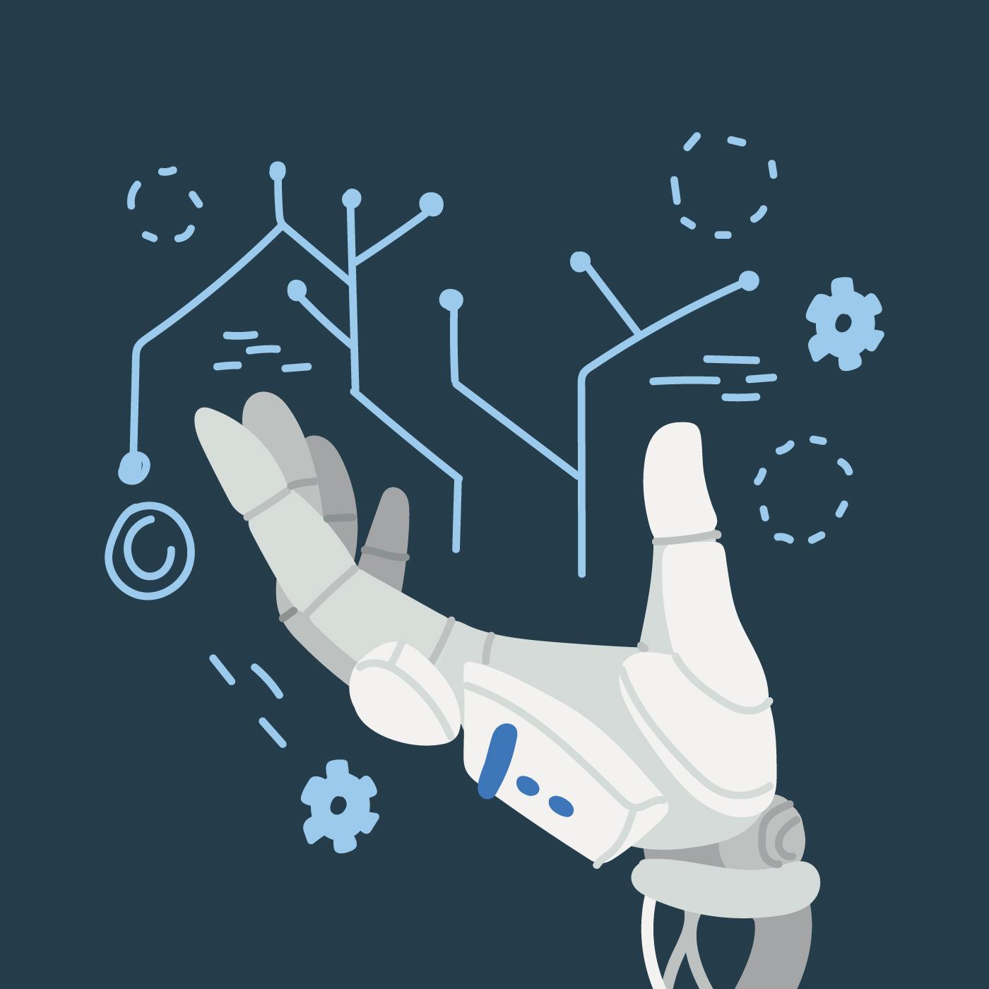 Robot Human Hand Free Vector Art.