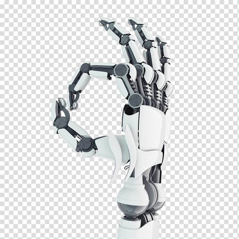 White and black robot hand illustration, Robotic arm.