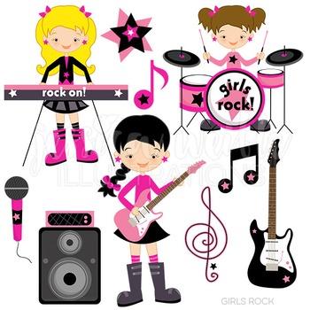 Girls Rock Cute Digital Clipart, Rock Band Clip Art.