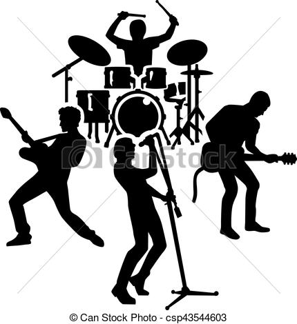 Rock band silhouette.