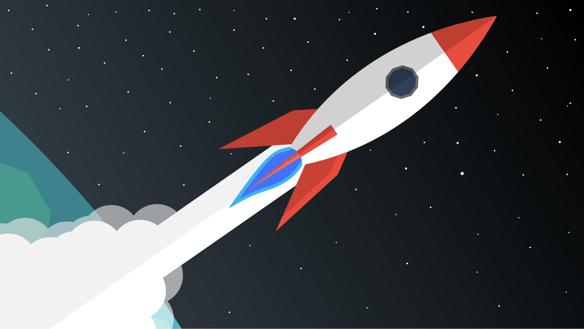 Rocket Blasting Off Into Space vector clipart image.