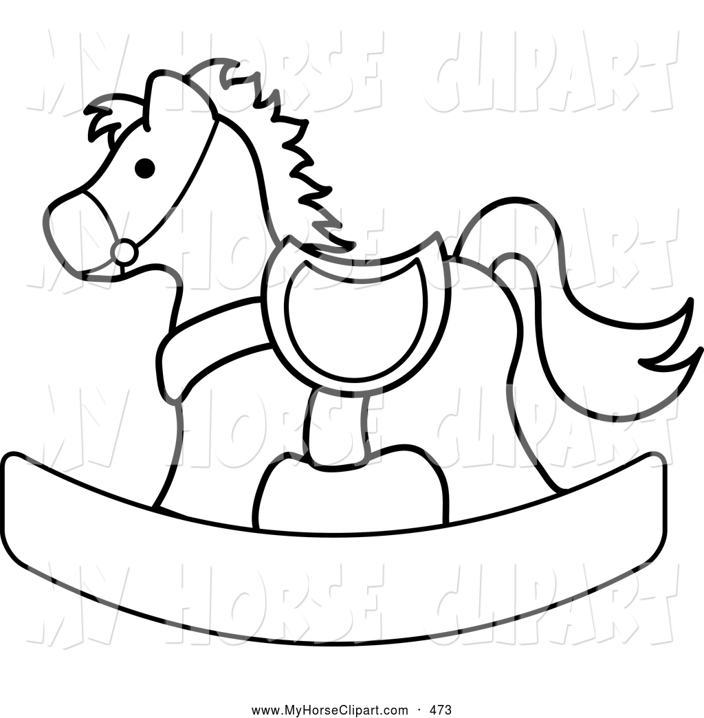 Clip Art of a Coloring Page Outlined Children's Rocking Horse by.
