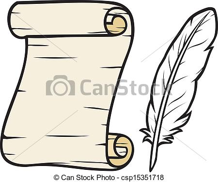 Vector Clip Art of old paper with feather (roll of old paper and.