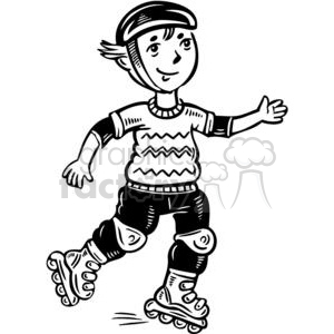 teen boy rollerblading clipart. Royalty.