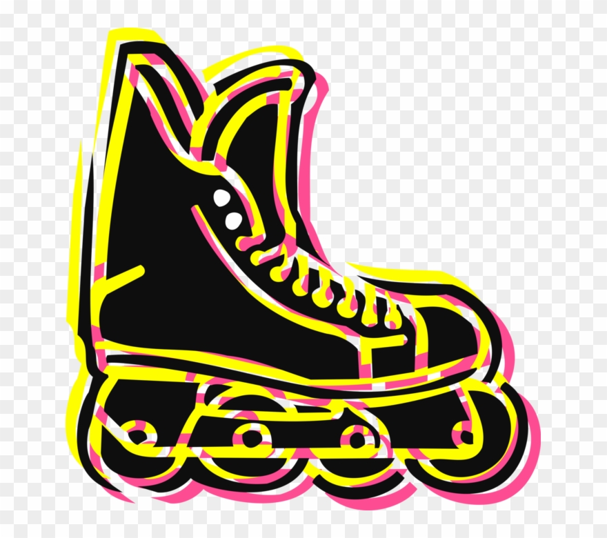 Vector Illustration Of Rollerblade Inline Rollerblading Clipart.