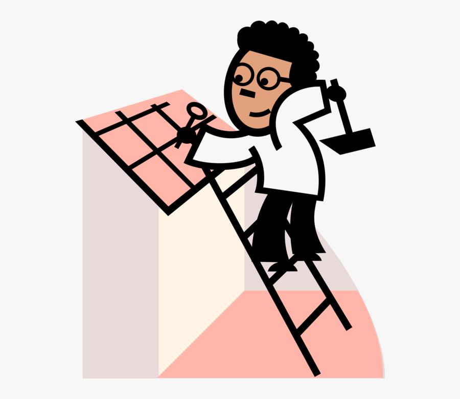 Vector Illustration Of Construction Roofer On Ladder.