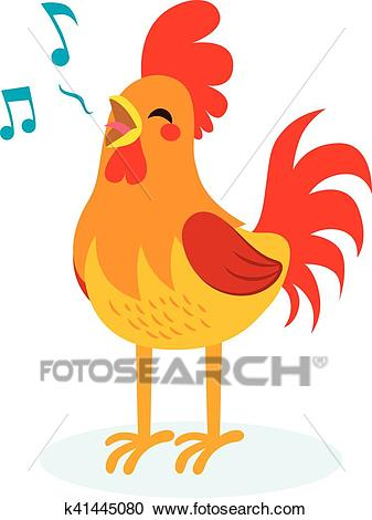 Rooster Singing Clipart.