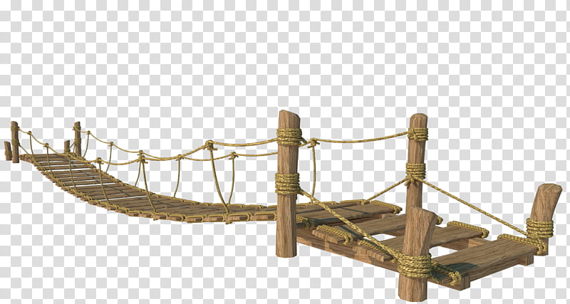 Rope Bridge, brown wooden swing bridge illustration transparent.