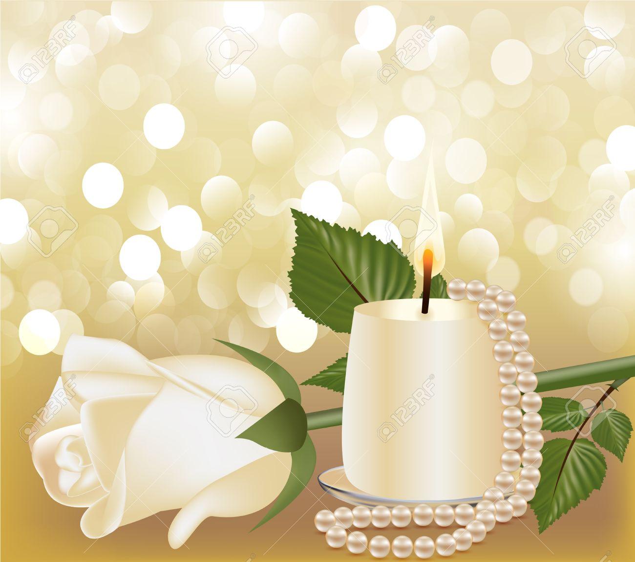 Illustrazione Sfondo Festivo Con Rosa Bianca, Perla A Lume Di.