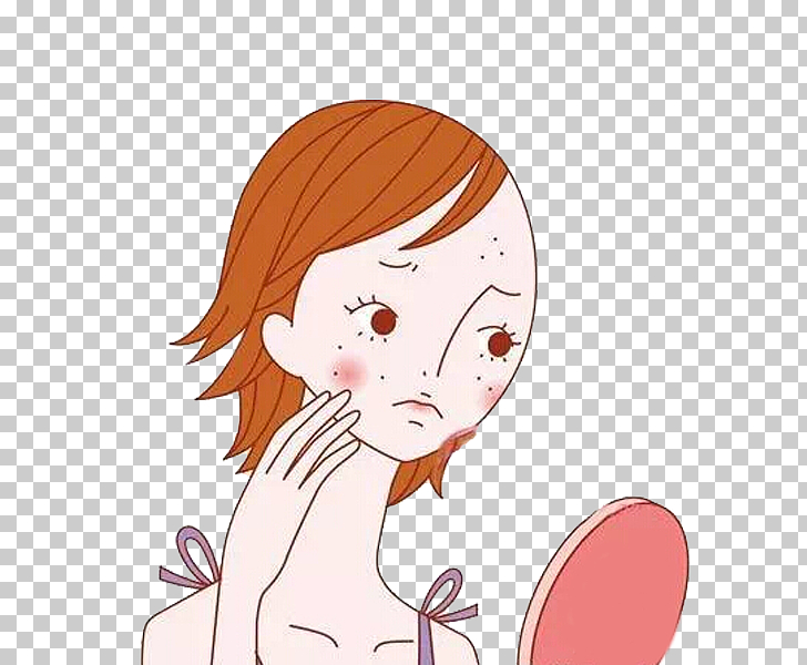 Acne Face Puberty Skin Rosacea, A woman in the mirror PNG.