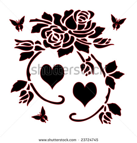 Black Silhouette of Roses, Flowers, Hearts, and Butterflies.
