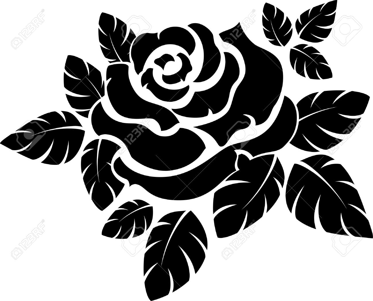 Vector Rose Silhouette Isolated On White Royalty Free Cliparts.