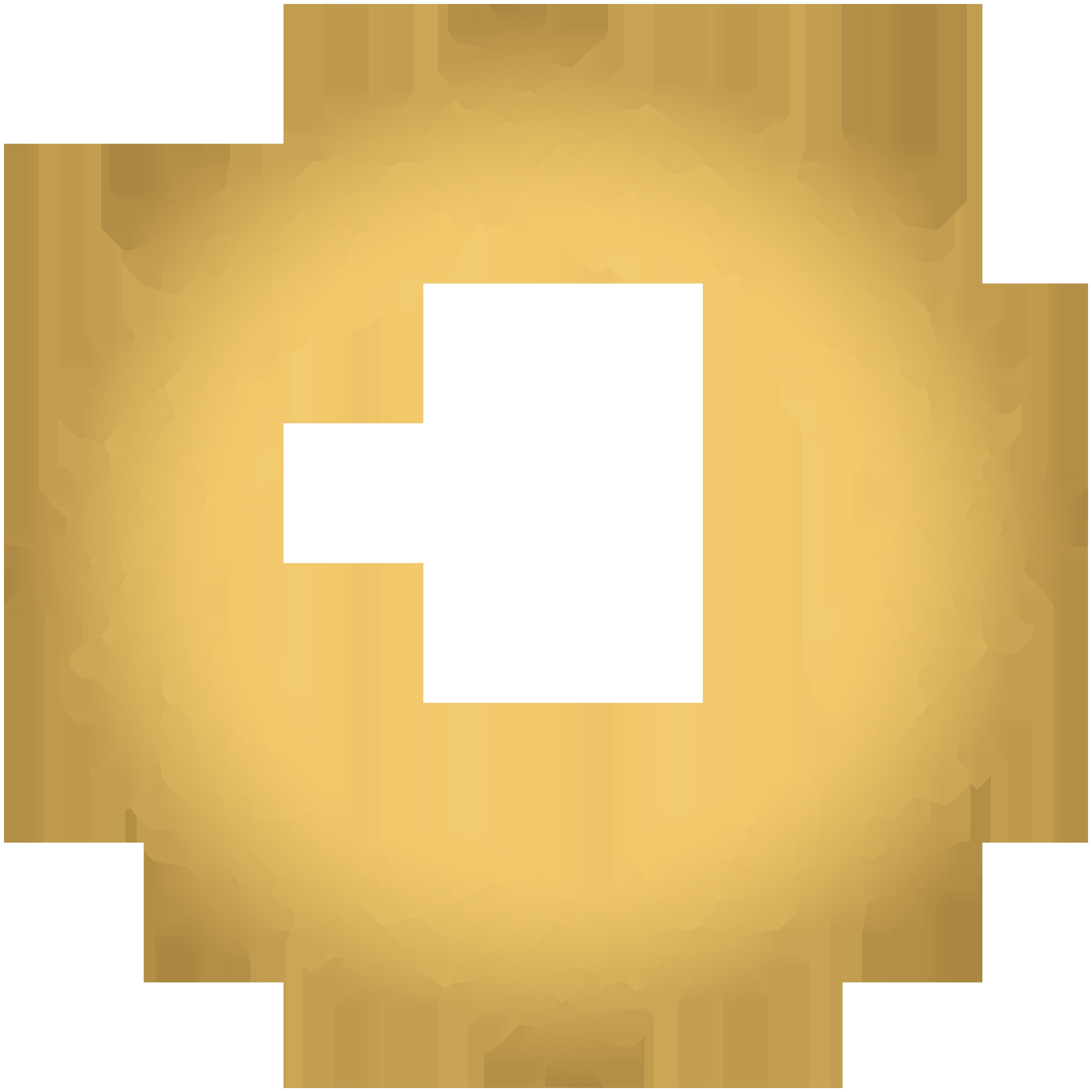 Gold Deco Round Border PNG Transparent Clip Art.