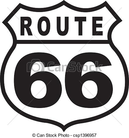 Route 66 Highway Sign Retro Vintage.