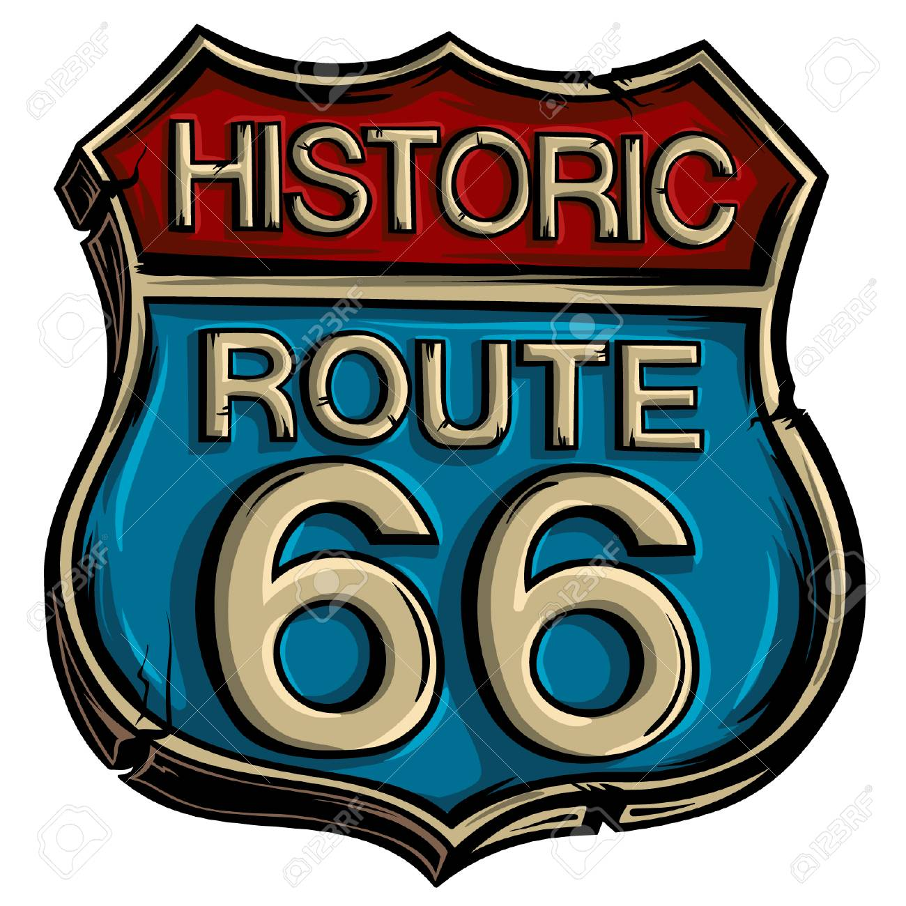 Vintage road sign route 66 vector. American advertising symbol..
