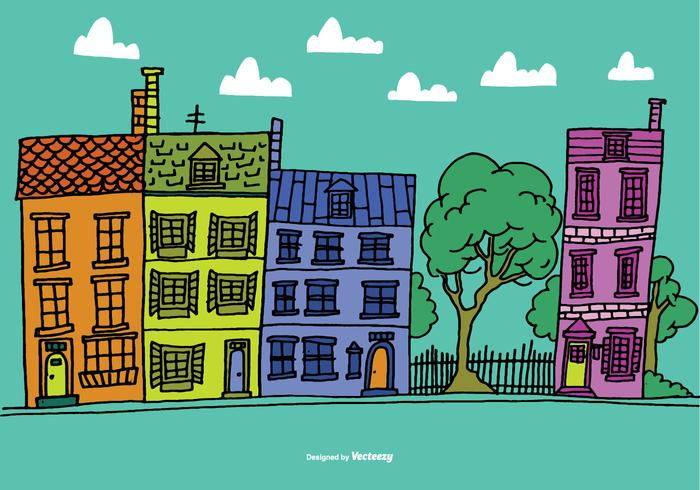 Colorful Row House Vectors.