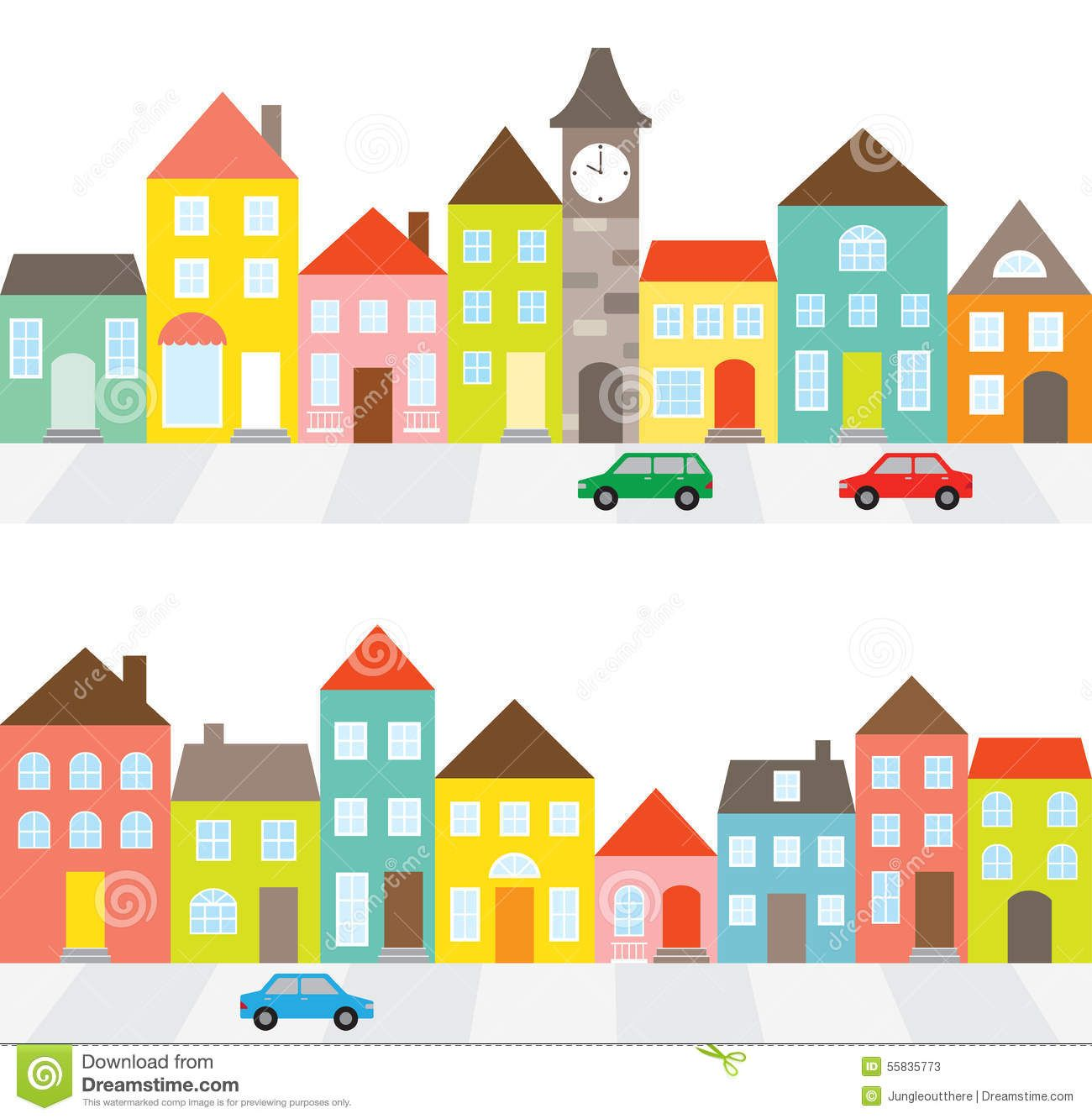 Photo about Illustration of a town scene with row of houses.
