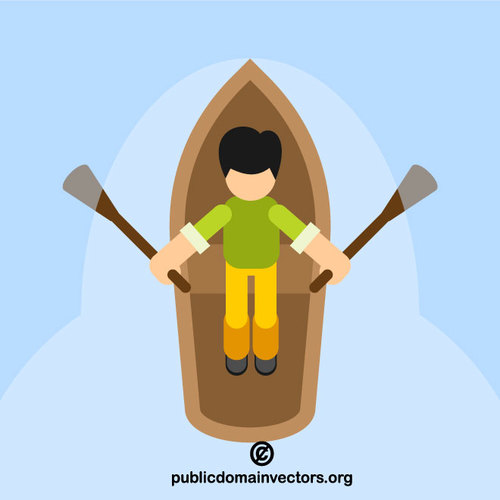 Man rowing boat vector clip art.