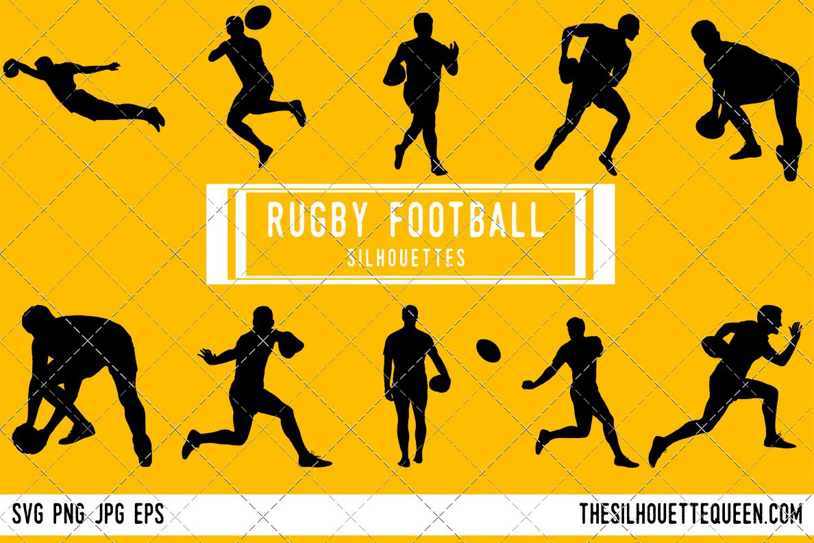 Rugby league football silhouette player clipart svg.