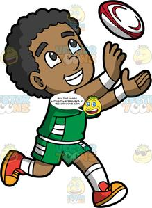 A Black Boy About To Catch A Rugby Ball.