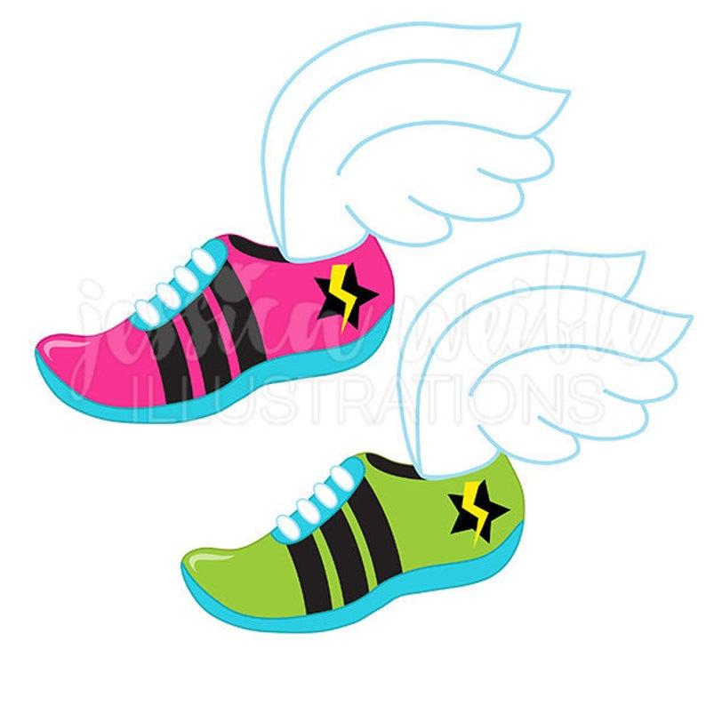 Track Logo Cute Digital Clipart, Runner Clip art, Running Graphics, Track  Runner Shoe Illustration, Shoe with Wings, #129.