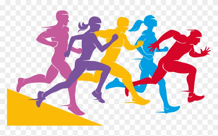 Jpg Freeuse Group Of Runners Clipart.
